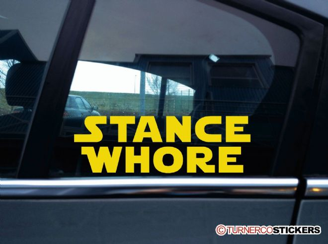 """ Stance Whore ""  funny galactic theme stanced, lowered car sticker"